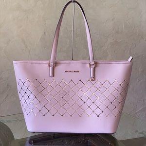 NwT Michael Kors violet perforated LG tote handbag